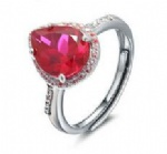 925 Sterling Silver Womens Ruby Ring